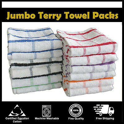 EXTRA LARGE JUMBO TERRY COTTON MULTI TEA TOWEL KITCHEN DISH CHECK CLOTHS 12 Pack