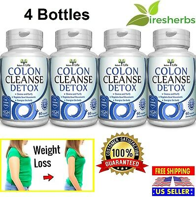 4 X Colon Cleanse Super Flush All Organic Herbs Flush Pounds Lose Weight Detox