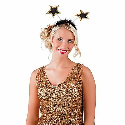 Fancy Dress New Years Party Bopper Headband Star Hair Band Stars Gold Sparkly UK