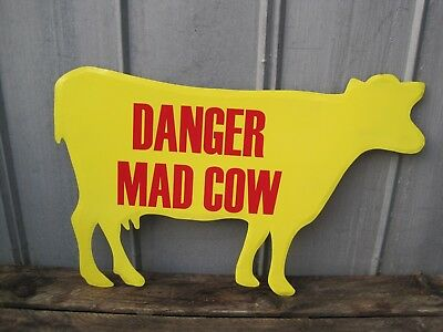 """Large 32""""  DANGER MAD COW Metal Wall SIGN Primitive Country Farm Sign B9270"""