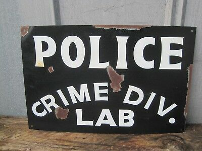 Hand Painted POLICE STATION Department SIGN Law Enforcement Crime Lab  B9275