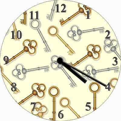 NOVELTY WALL CLOCK - Antique Victorian Keys Pattern Design - Retro Wall Clock