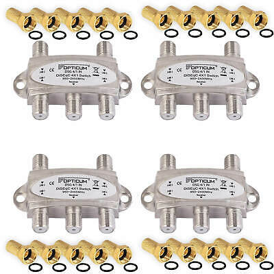 4 x DiSEqC Opticum Switch Umschalter SAT LNB 4K Schalter 4x1 4/1 switch Full HD