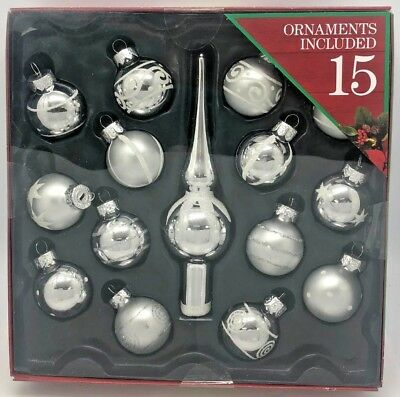 New Collectible Holiday Time 15 Miniature Glitter Glass Christmas Tree Ornament