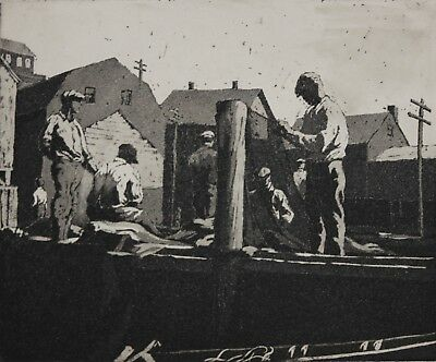 CHRISTIAN DULL-PAFA Philly/Realist-Hand Signed LIM.ED Aquatint- Fishermen/Harbor