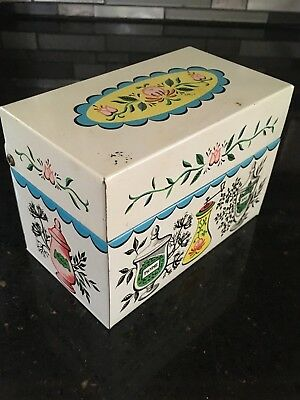 Vintage J. Chein USA Metal 3X5 Recipe Card Box Holder Spices & Flowers Mid Cent