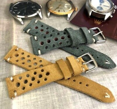 Italian Vintage Suede Leather Rally Racing Watch Strap H/Made, 18 19 20 21 22mm