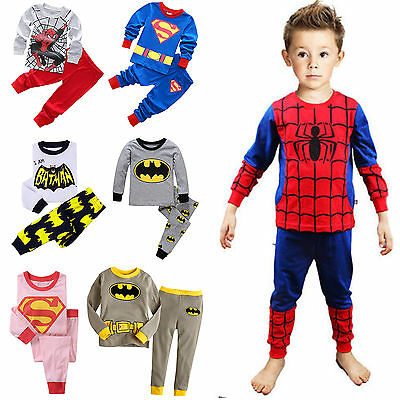 Spiderman Batman Superman Kinder Outfit T-Shirt + Hosen Nachtwäsche Schlafanzug