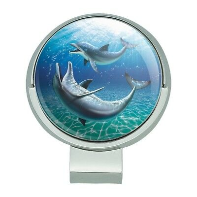 Dolphin and Baby Having Fun Ocean Golf Hat Clip With Magnetic Ball Marker