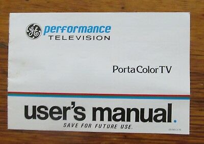 1978 GE User's Manual Porta Color TV Performance Television