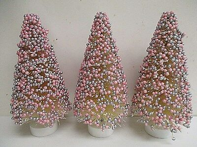 "Lot of 3 - 6"" PINK & SILVER Candy Coated Sisal Bottle Brush Tree Cottage Chic"