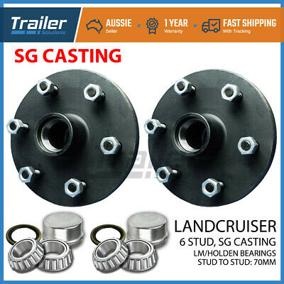 Pair Landcruiser 6 stud trailer hubs 6/139.7 with Holden LM bearings. SG CASTING