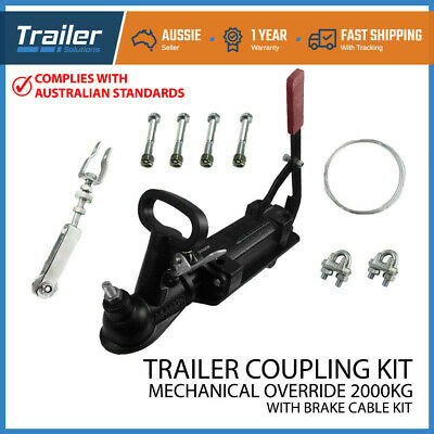 Trailer Mechanical Brake Cable Override 2 Tonne Hitch Coupling Camper Caravan