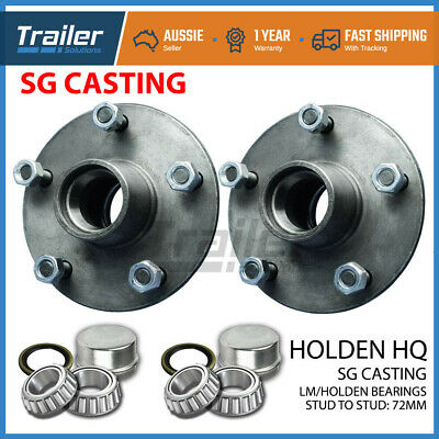 TRAILER HUBS HOLDEN HQ with HOLDEN LM BEARINGS TRAILER LAZY HUBS KIT PAIR
