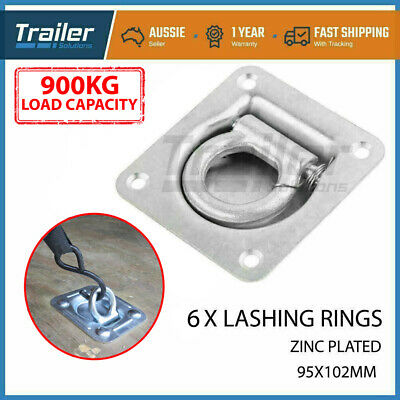 6 x Heavy Duty Lashing Ring Tie Down Point Anchor Ute tray box Trailer Recessed