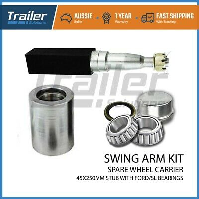 Rear Bar Swing Away Spare Wheel Bracket Kit With 45 X 250Mm Square Stub Axle 4Wd