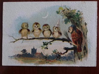 Schilling's Best Spices 4 Student Owls on a branch Victorian Card