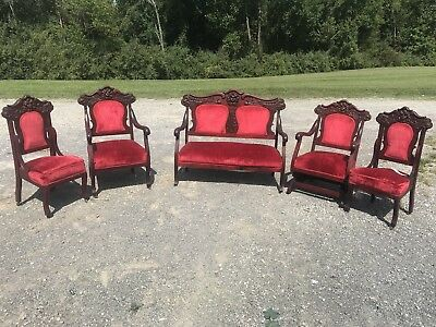 5 Piece Antique Victorian Settee Carved Parlor Set with Rocker Chair And Cherubs