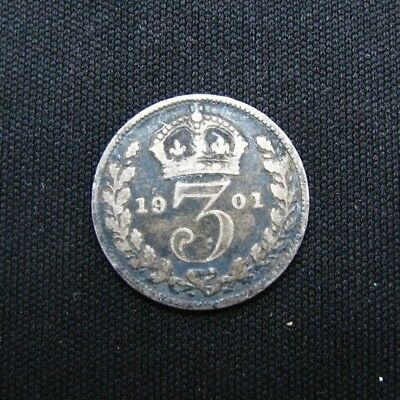 1901 Great Britain 3 Pence Small Silver World Coin-Free Shipping!