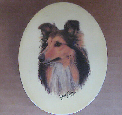 """Sheltie Dog by Robert J May- Small Oval Lacquered Box Trinket Jewery 4""""x3""""x2"""""""
