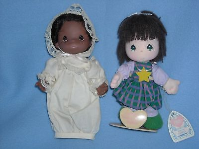 """LOT of TWO 7"""" BLACK n BROWN HAIR PRECIOUS MOMENTS DOLLS"""