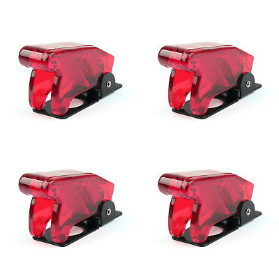4PCS Toggle Switch Boot Plastic Safety Flip Cover Cap 12mm Clear Red UE