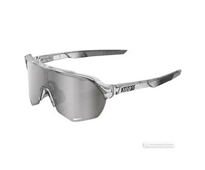 100% S2 Cycling UV Sunglasses TRANSLUCENT GREY/HiPER SILVER MIRROR LENS