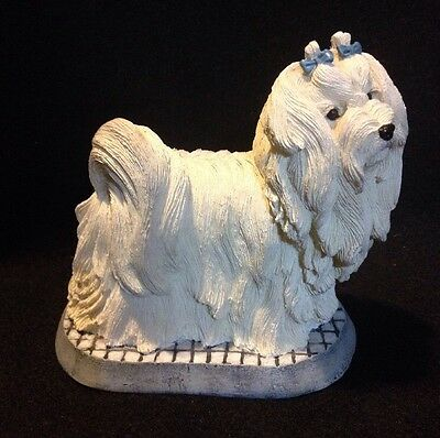 Living Stone Inc. 2001 Maltese Dog On  Base Figurine