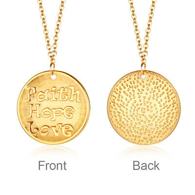Bohemia Gold Plate Women Tag Coin Pendant Neckalce Chain Faith Love Hope Jewelry