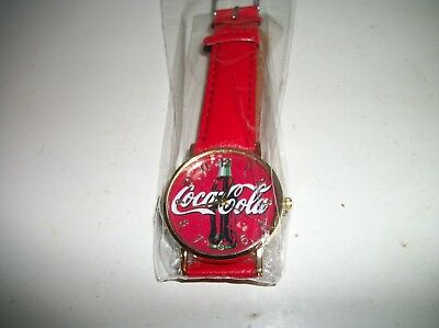 Very Sharp RED Coca-Cola Wristwatch W/ RED Faux Leather Band