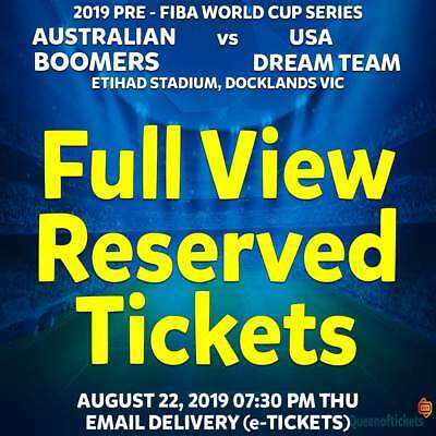 2019 BOOMBERS v USA DREAM TEAM BASKETBALL FULL VIEW RESERVED TICKETS THU 22 AUG