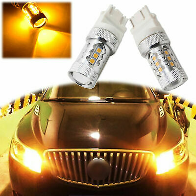 Pair Amber 3156 3157 3057 3056 LED Bulbs For Front Rear Turn Signal Lights 80W