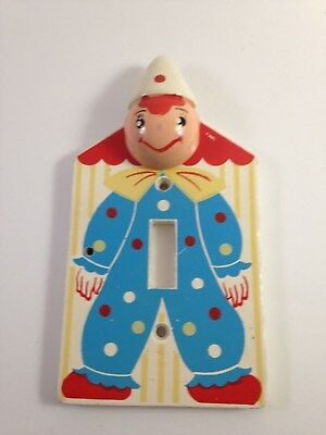 vintage wood switch plate clown, circus themed
