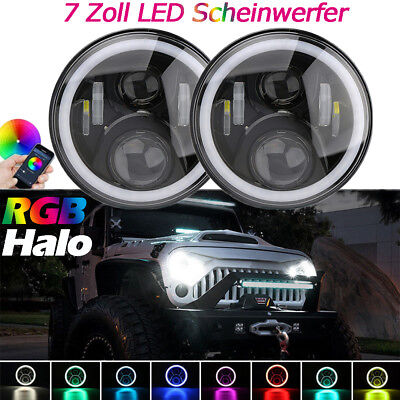 2x 7''Zoll H4 LED Front Scheinwerfer RGB Angel Eyes Bluetooth für Jeep Ford Lada