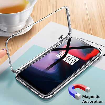 Magnetic Adsorption Case for One Plus 6 Metal Tempered Glass Hybrid Armor Cover