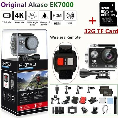 Akaso EK7000 Wifi 4K 1080P Action Sport Action Camera DVR Camcorder +32G SD Card