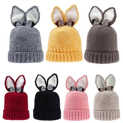 Winter Baby Beanie Hat Warm Rabbit Ear Bowknot Toddlers Knitted Cap Xmas Gifts