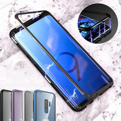 Tempered Glass Cover 360 Magnetic Adsorption Metal Case For Samsung Galaxy S9 S8