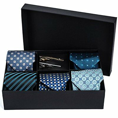 Men's Tie Set 5 Luxury Neckties And 2 Classy Bars In Gift Box By Pointed Designs