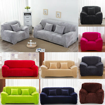 Stretch Chair 1/2/3/4 Seat Thick Sofa Cover Plush Couch Lounge Stretch Slipcover