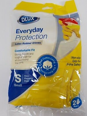 Small Latex Rubber Gloves Non Slip Grip Strong Flexible Cotton Lining Pairs
