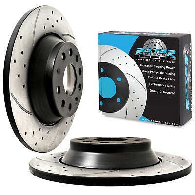 REAR GROOVED DRILLED 300mm BRAKE DISCS FOR VW GOLF MK7 1.6 2.0 GTD GTI R 4MOTION