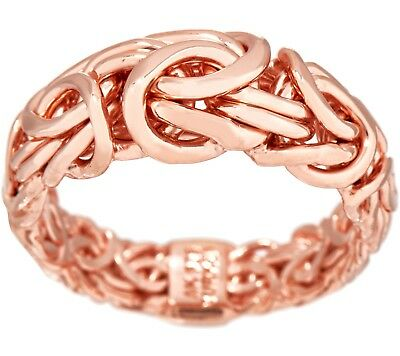 Solid Graduated Byzantine Ring 14K Rose Gold Clad Sterling Silver QVC Sz 5 6 10