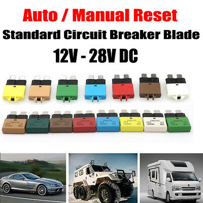 5A-30A Marine Rally Circuit Breaker Blade Fuse Trip Function Resettable 12V 24V