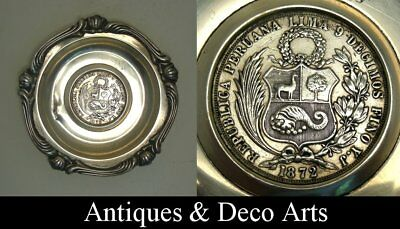 Antique Stirling Silver Tray with 1872 Coin of Peru (D: 10.5cm)