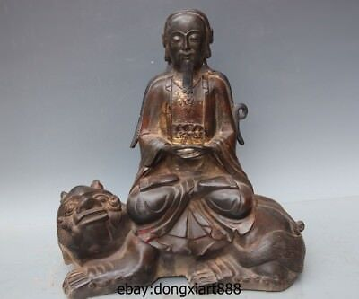 "13"" Chinese Taoism Pure Bronze Taoist priest Venerable Ride Foo Dog Lion Statue"