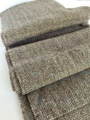 "Vintage Fabric Harris Tweed Gray Handwoven Wool Outer Hebrides 70x28"" 1979"