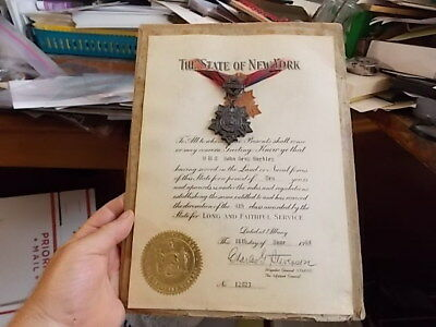 1960 NEW YORK NATIONAL GUARD 10 YEAR SERVICE MEDAL(No 12823) & CERTIFICATE