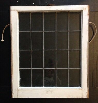 Antique Leaded Glass Wood Framed Window Sash (Lower) Church Salvage Vintage