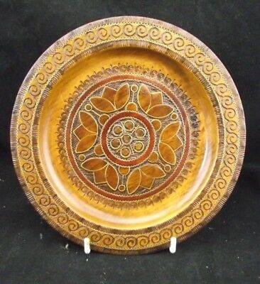 Antique Polish Hand Worked Wooden Plate